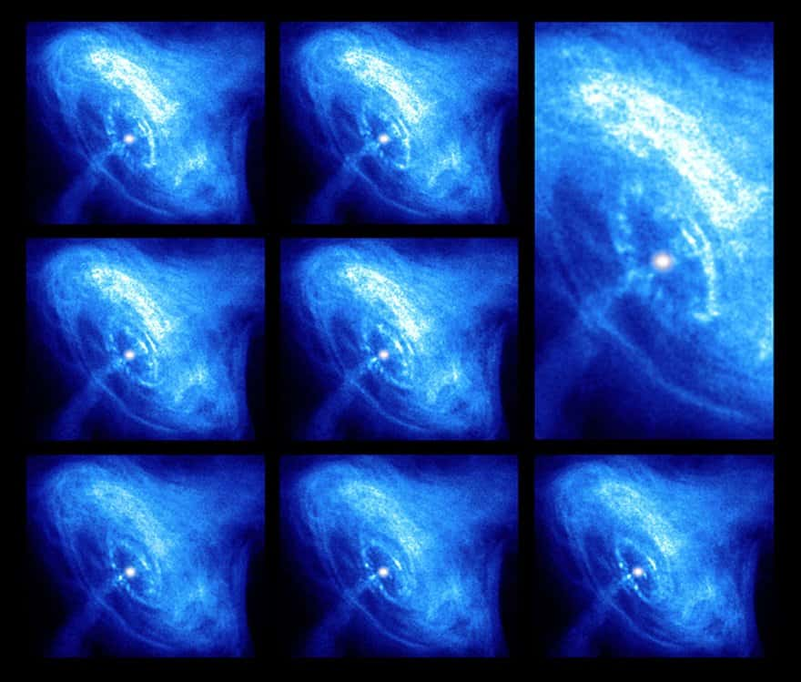 A snapshot of the PSR B0531 + 21 pulsar taken by the Chandra X-ray observatory.  In the center, you see a white pulsar and jets of ejected material.