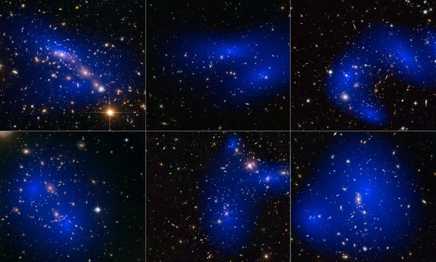 This collage shows images of six different galaxy clusters taken with NASA's Hubble Space Telescope.  The clusters were discovered while trying to investigate the behavior of dark matter in galaxy clusters as they collide.