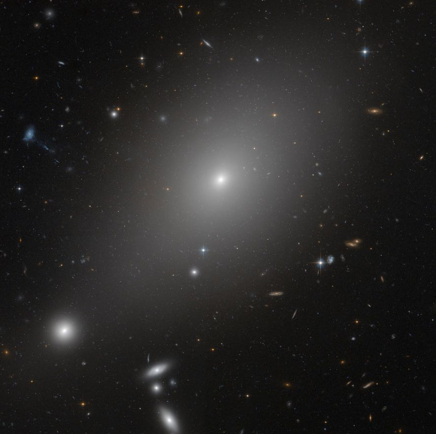 It is the bright galaxy ESO 306-17 in the southern sky.  It is seen to be surrounded by other galaxies, but the bright ones at the bottom left are in the foreground and not on the same plane.  In fact, she is lonely.