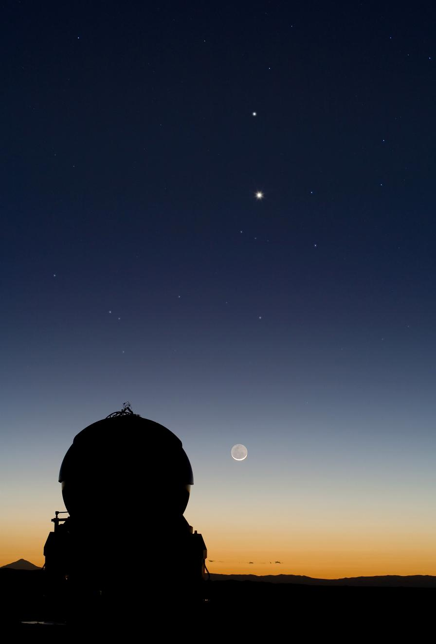 Mercury and Venus are visible along with Gamma and Delta of Capricorn (right).